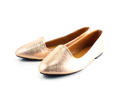 flat shoes: close up of pair ladies flat shoes