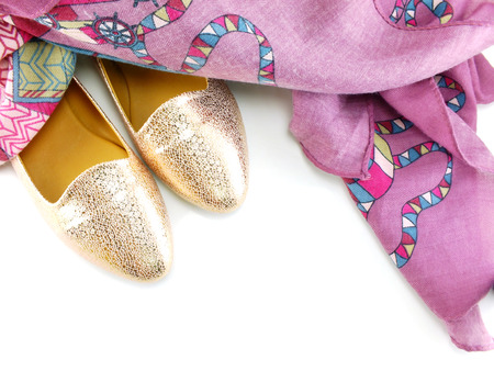 ballerina shoes: ballerina shoes and scarf on white background