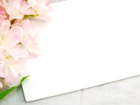 space for copy: white card and artificial flower space for copy background