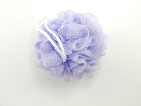 in vain: blue plastic bath puff for shower cleaning and scrub body