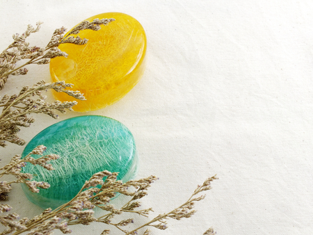 natural soap: natural soap with loofah spa background