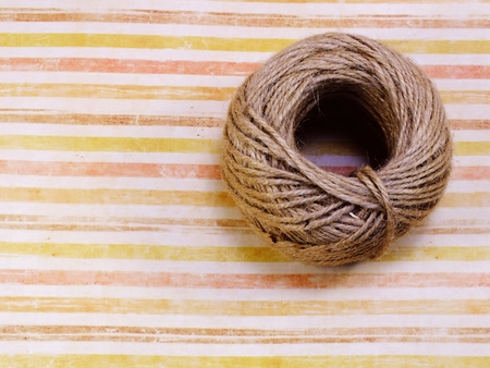 top view of decorative hemp rope roll with space copy background Stock Photo