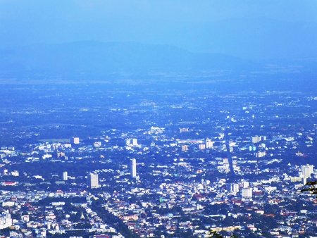 view of city urban chaingmai thailand top view