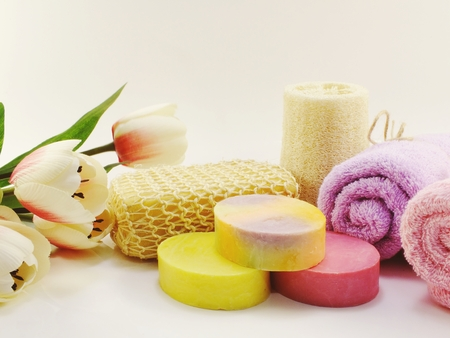 hygiene cleansing spa accessories with Shampoo soap and shower cream bathroom products Stock Photo