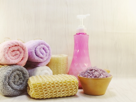 cleansing spa accessories with Shampoo soap and shower cream bathroom products