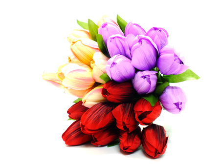 artificial tulip flowers bouquet isolated on white background