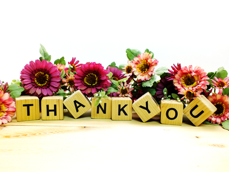 lettering thank you with artificial flowers bouquet
