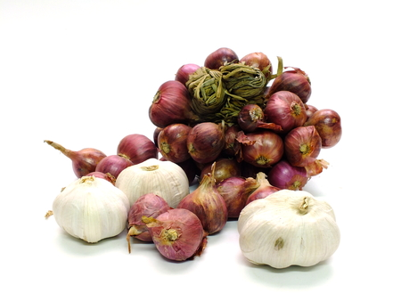 onion and garlic top view on white background Stock Photo