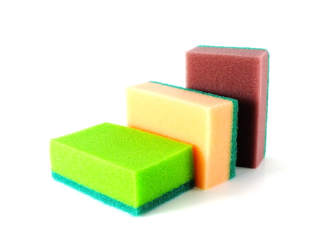 colorful kitchen sponges isolated on white background Stok Fotoğraf