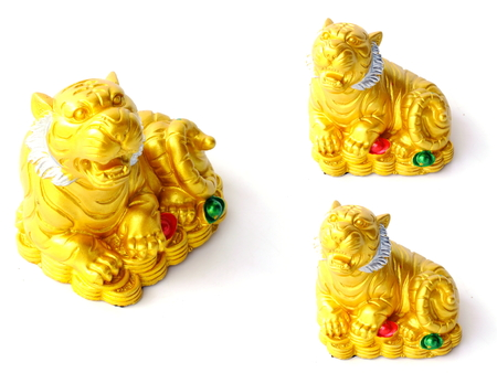 chinese good luck tiger on white background Stock Photo