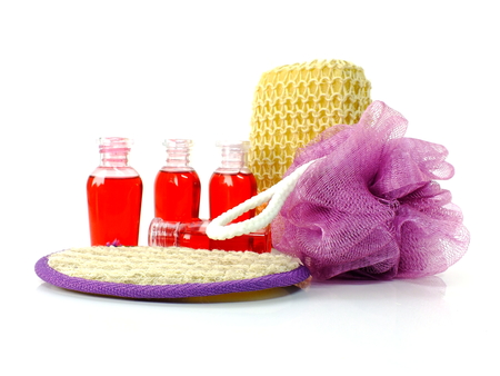 soft bath puff towel and shower accessories with space copy background Stock Photo