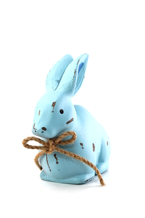 blue rabbit figure isolated on white background 写真素材