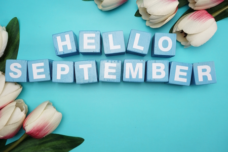 hello september alphabet letters with flower bouquet on blue background 写真素材
