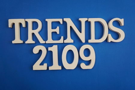 Trends 2019 word alphabet letters on blue background Banco de Imagens