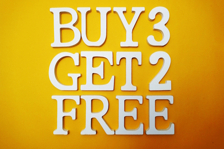 Buy three get two Free Sale Promotion on Yellow background
