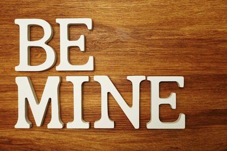 Be mine New Jobs word alphabet letters on wooden background Stock fotó