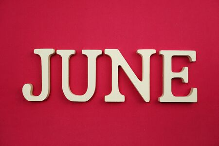 Lettera dell'alfabeto di giugno con copia spaziale su sfondo rosa