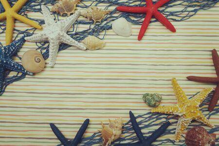 Summer background with starfish and seashell nautical marine decoration