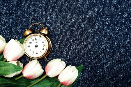 Alarm clock and tulip flower bouquet with space copy on blue knitted cloth texture background