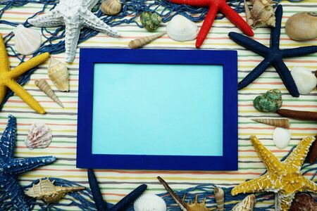 Mock up flat lay space photo frame with nautical marine decoration