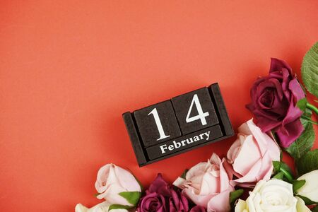 14 February valentine's day background top view flat lay with space for copy Imagens