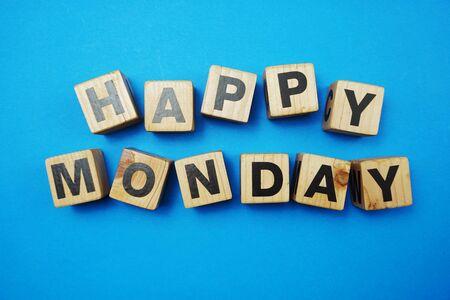 Happy Monday text alphabet letter on blue background