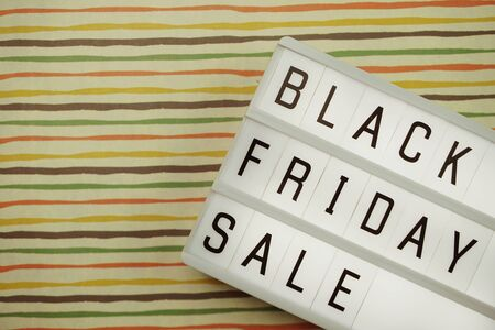 Black Friday Sale Word on Light box with space copy background