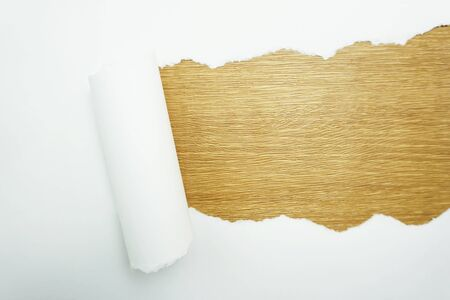 Paper torn with space copy on wooden background