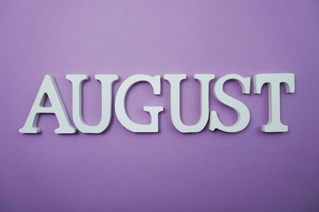 August alphabet letter with space copy on Purple background Archivio Fotografico