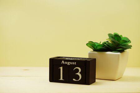 August 13th calendar wooden cube