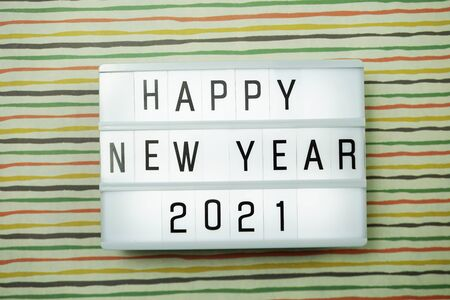 Happy New Year 2021 light box top view flat lay 写真素材
