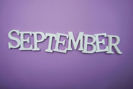 September alphabet letter with space copy on Purple background 스톡 콘텐츠
