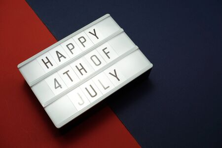 Top view Happy 4th of July light box with space copy Flat lay