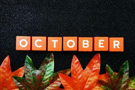 October alphabet letter with maple leave decoration on black glitter background 写真素材