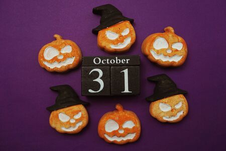 Halloween 31 october with pumpkin decorate with space copy on purple background