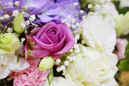 Close up beautiful Pink rose flower Hydrangea and carnation bouquet