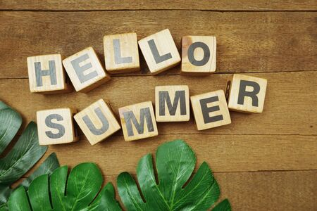 Hello Summer alphabet letter on wooden background Фото со стока