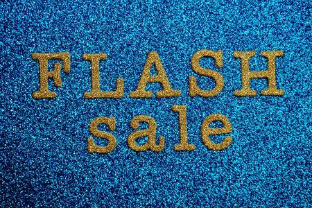 Flash sale alphabet letter on blue glitter background