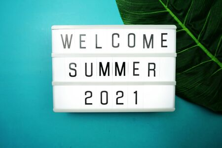 Welcome Summer 2021 word in light box with green leave on blue background