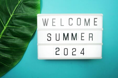 Welcome Summer 2024 word in light box with green leave on blue background Banco de Imagens