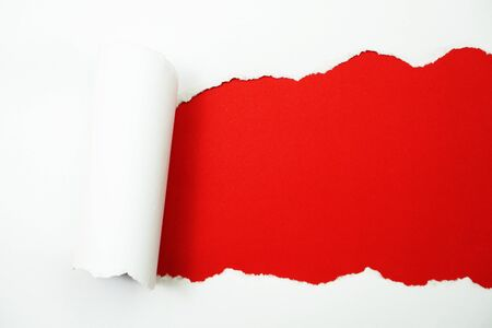 Paper torn with space copy on red background