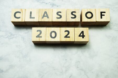 Class of 2024 alphabet letters on marble background