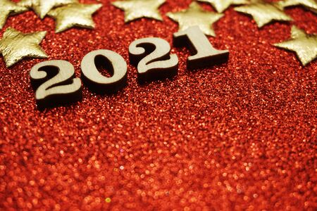 Happy New year 2021 with space copy on red glitter background