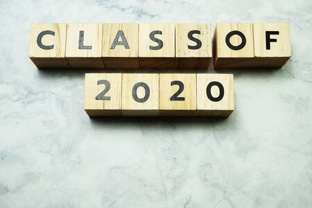 Class of 2020 alphabet letters on marble background