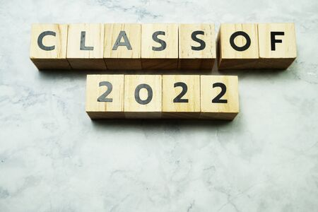 Class of 2022 alphabet letters on marble background