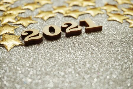 Happy New year 2021 with space copy on silver glitter background