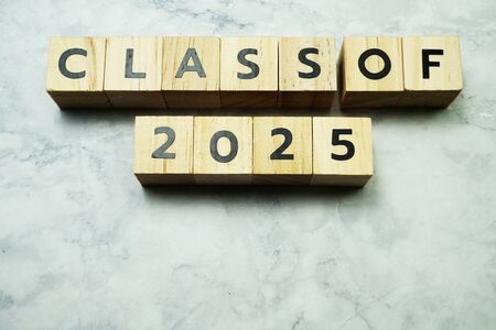 Class of 2025 alphabet letters on marble background