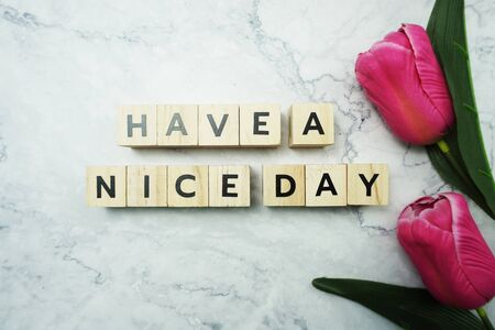Have a Nice Day word letter message on marble background