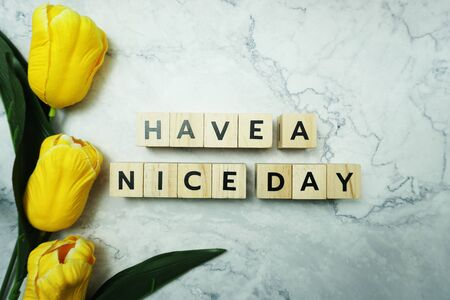 Have a Nice Day word letter message on marble background Фото со стока