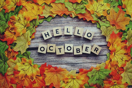 Hello October alphabet letter with pumpkin and maple leaves decoration on wooden background